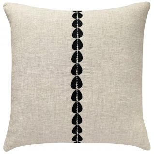 natural linen square pillow, black embroidered cowrie shell stripe