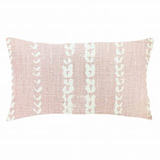 pink linen rectangle pillow, white mud cloth print