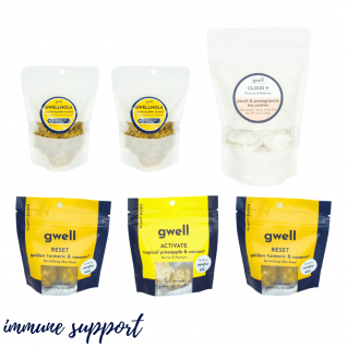 Gwell immune boosting snack pack components; comes with 150g bag of cloud 9 peach & pomegranate tea cookies, 2 50g bags of reset turmeric bites, 1 50g bag of activate pineapple bites and 2 35g bags of gwellnola gluten free granola powered by hemp seeds
