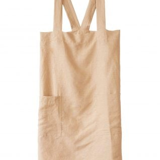linen apron, cross back straps, two pockets, in camel color