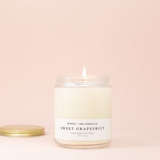 SWEET GRAPEFRUIT Candle, Grapefruit Candle, Mangosteen Candle, Soy Candles, Scented Soy Candle, Wood Wick Candle, Glass Jar Candle