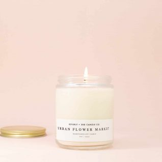 URBAN FLOWER MARKET Candle, Floral Candle, Soy Candle, Wood Wick Soy Candle, Scented Soy Candle, Fresh Cut Flowers, Glass Jar Candle