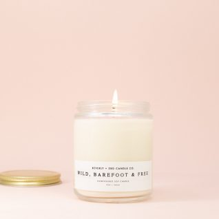 WILD, BAREFOOT and FREE Candle, Summer Candle, Citrus Candle, Soy Candle, Scented Soy Candle, Fresh and Clean, Wood Wick Candle, Glass Jar