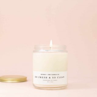SO FRESH & so CLEAN Candle, Summer Candle, Spring Candles, Clean Candle, Apple Candle, Soy Candle, Wood Wick Candles, Glass Jar Candle