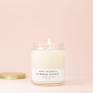 SUMMER NIGHTS Candle, Summer Candle, Lily Candle, Floral Candle, Fruit Candles, Scented Soy Candle, Wood Wick Soy Candle, Glass Jar Candle