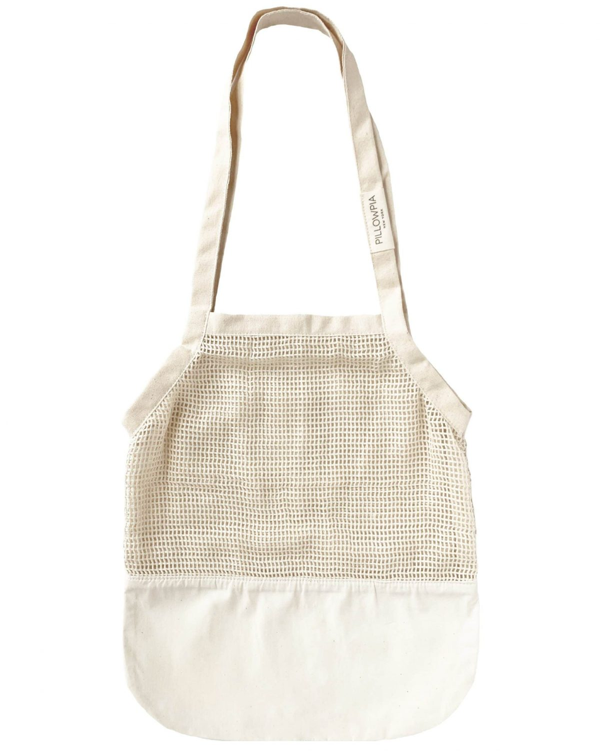 natural colored tote with netting detail