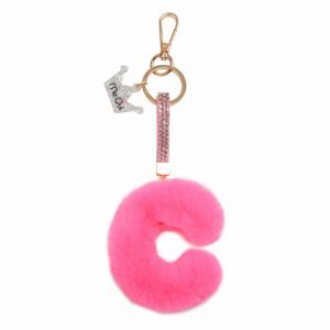 Faux Fur Initial Key Chain- C