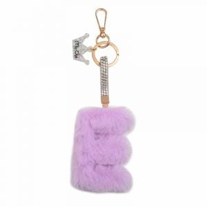 Faux Fur Initial Key Chain- E
