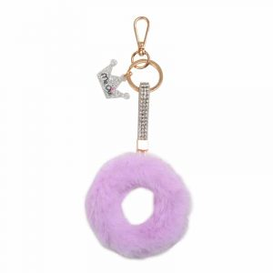 Faux Fur Initial Key Chain- O